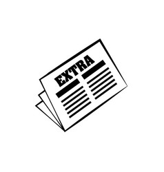newspaper extra news daily line vector image
