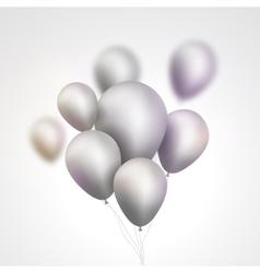 Silver Balloons bunch Set of festive silver gray vector image
