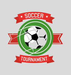 soccer tournament ball sport banner ribbon vector image