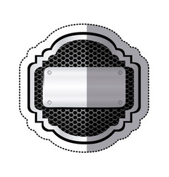 sticker heraldic metallic frame with grill vector image