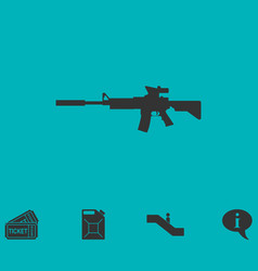 assault carbine icon flat vector image vector image