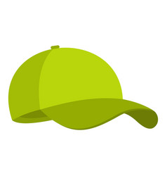 green baseball cap icon flat style vector image vector image