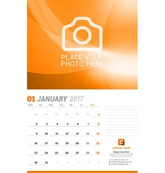 January 2017 Wall Monthly Calendar for 2017 Year vector image vector image