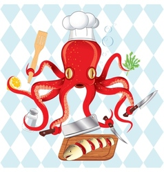 octopus cooking sushi and fish vector image vector image