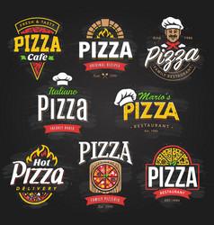 pizza emblems set vector image