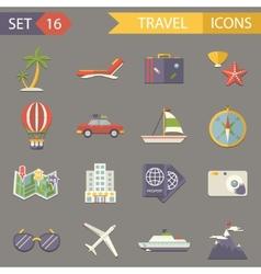 Retro travel rest symbols tourist accessories vector