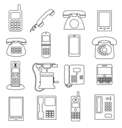 various black phone symbols and outline icons set vector image vector image