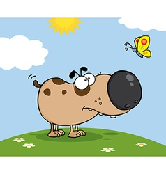 Cute Dog With Butterfly On A Meadow vector image