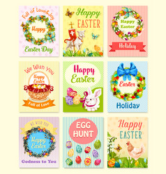 easter egg and rabbit cartoon greeting card set vector image vector image