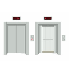 Elevator open and closed doors vector image