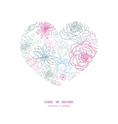 gray and pink lineart florals heart vector image vector image