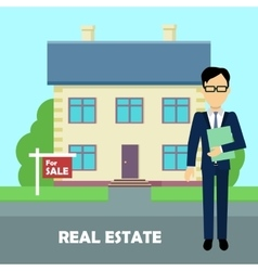 Real estate broker at work Building for sale vector image