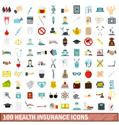 100 health insurance icons set flat style vector image