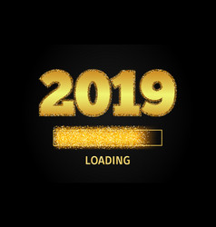 2019 golden loading progress bar vector image