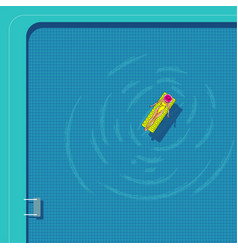 a woman in a yellow swimsuit swims on a mattress vector image
