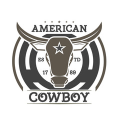 American cowboy vintage isolated label vector