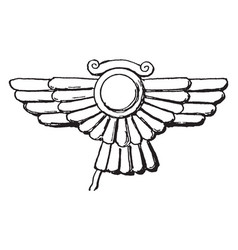 Assyrian ornament is a winged disk motive vintage vector