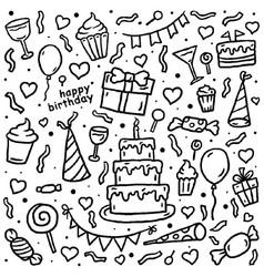 birthday pattern hand drawn line art illust vector image