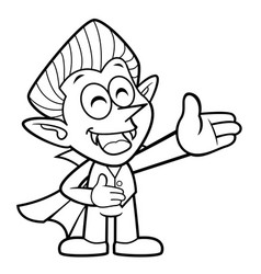 Black and white cartoon dracula mascot is a guide vector