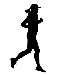 Black silhouettes runners sprint women on white vector