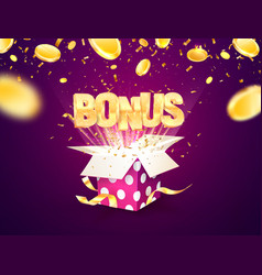 bonus word flying from textured gift box and vector image
