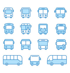Bus flat line icon set vector
