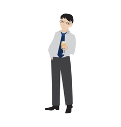 Businessman holding champagne glass vector image