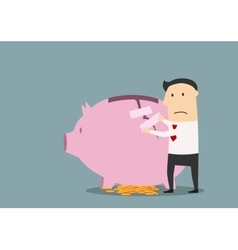 Businessman repairing cracked piggy bank vector