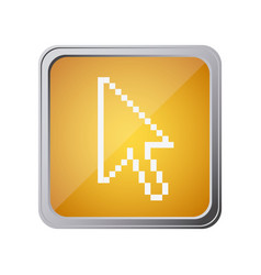button with pixelated arrow cursor with background vector image