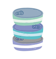 Canned fish stacked isolated icon design white vector
