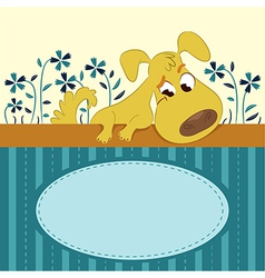 Cartoon Animal Card with Funny Dog vector image