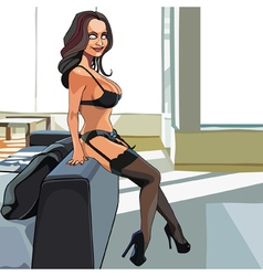 cartoon sexy woman in lingerie and stockings vector image