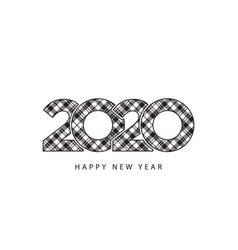 check plaid 2020 happy new year template gift vector image