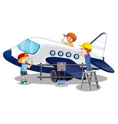 Children repairing airplane together on white vector