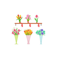 collection beautiful bouquets on wooden shelf vector image