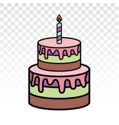 Colorful birthday cake with candles flat icon vector