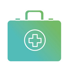 contour briefcase with medical cross symbol vector image