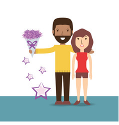 Couple lover with romantic bouquet flowers vector
