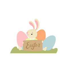 cute bunny with eggs happy easter design element vector image