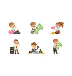 Cute happy kids millionaires set successful vector
