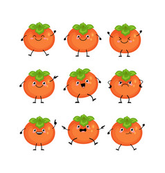 cute persimmon characters set with differen vector image