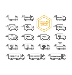 Delivery truck shipping service thin line icon set vector