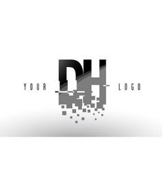 Dh d h pixel letter logo with digital shattered vector