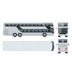 Double-deck multi-axle luxury touring coach vector