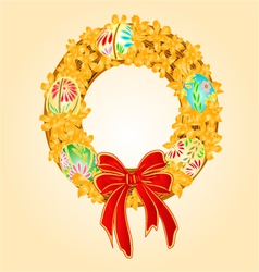 Easter wreath with forsythia and Easter eggs vector