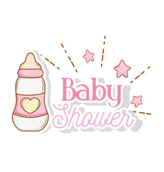 Feeding bottle with stars to baby shower vector