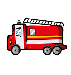 fire truck on white background cute cartoon vector image