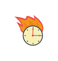 flat burning wall clock deadline concept vector image