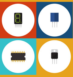 flat icon technology set of receiver receptacle vector image