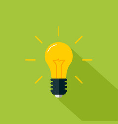 flat light bulb icon on vector image